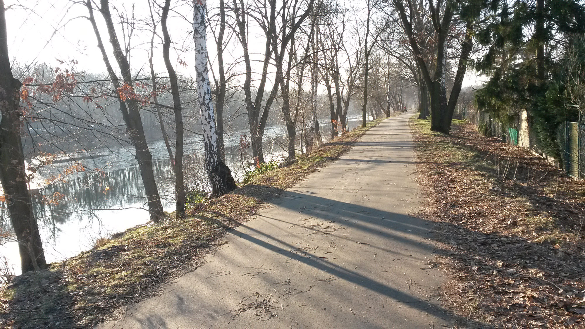 13 February 2015: A trip to Tegel. These paths are nice in theory, but not suitable for fast biking because of pedestrians.