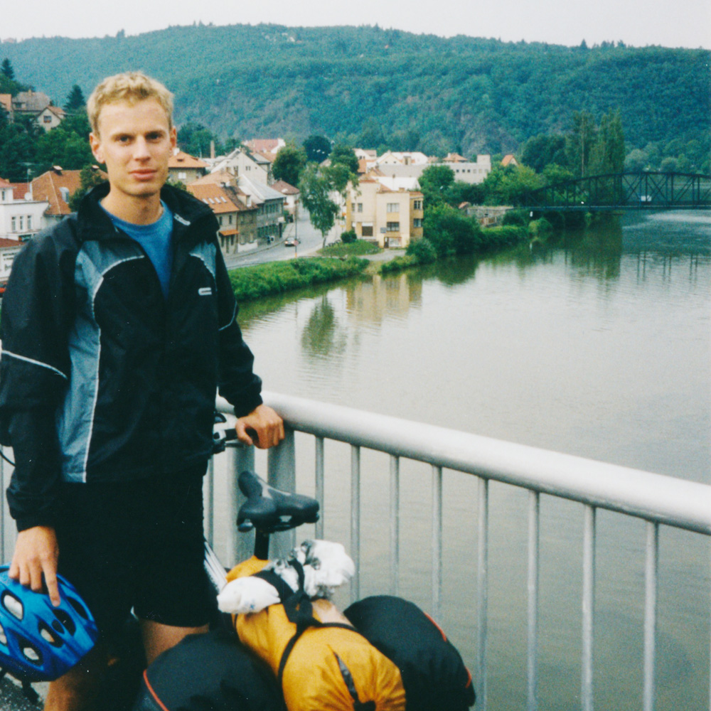 Bike touring in the Czech republic and Germany. This is a bridge over Vltava, Moldau.