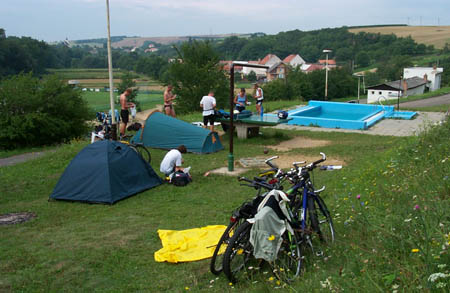 "Our little ""tent village"" at the pool. (Photo by Slavomír Szabo.)"
