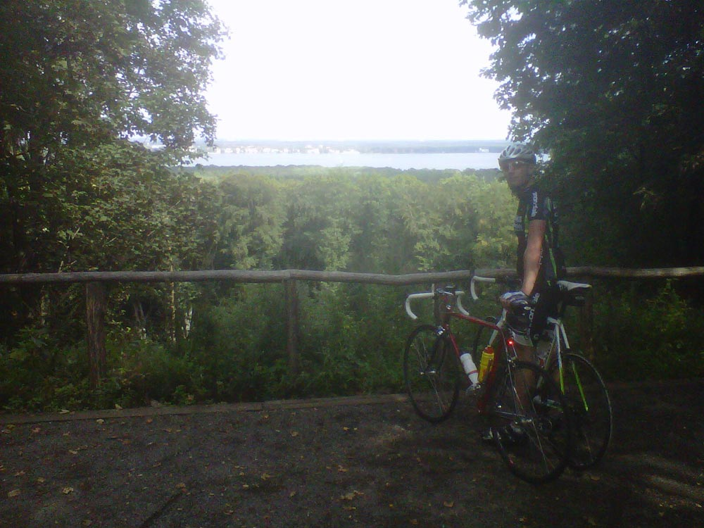 On top of Müggelberg, which with its 115 meters is Berlin's highest mountain. Blackberry photo by Simon - the only photo I have from the whole biking summer!