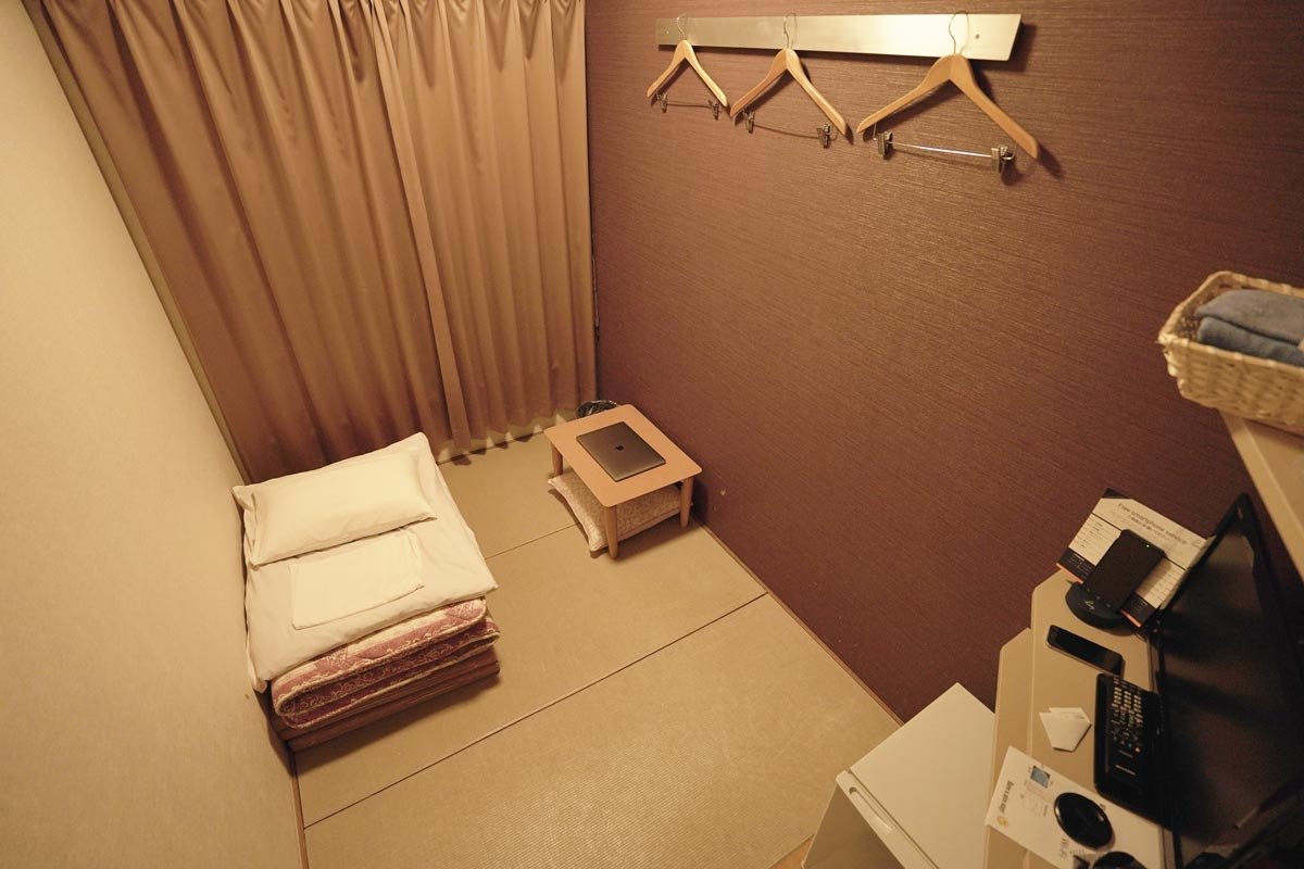 Small hotel room in Japan